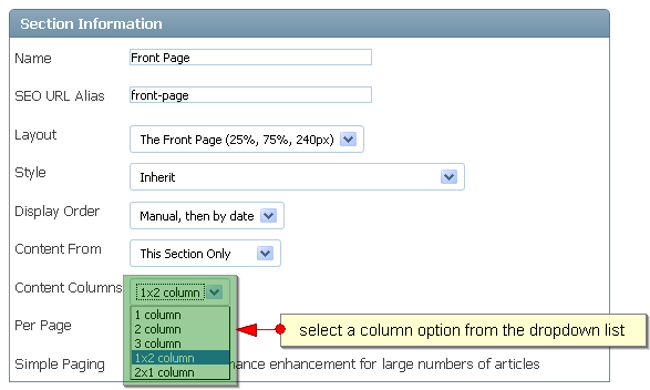 Section Content Layout